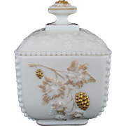 Westmoreland Beaded Grape Covered Dish - Gold Highlights