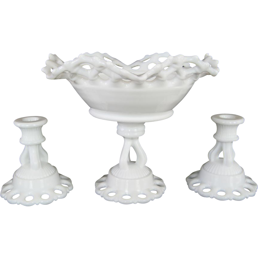 Westmoreland Doric Console Set - White Milk Glass