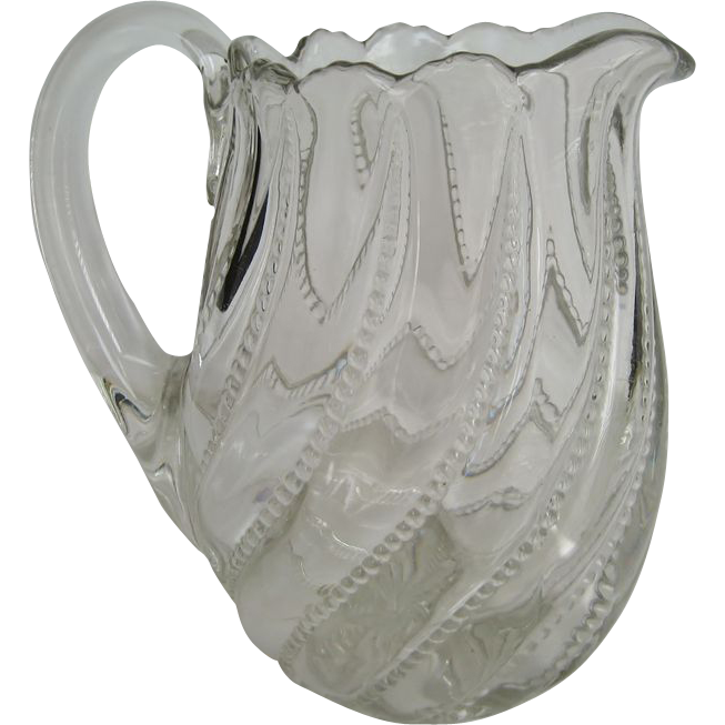 Bead and Swirl Glass Pitcher