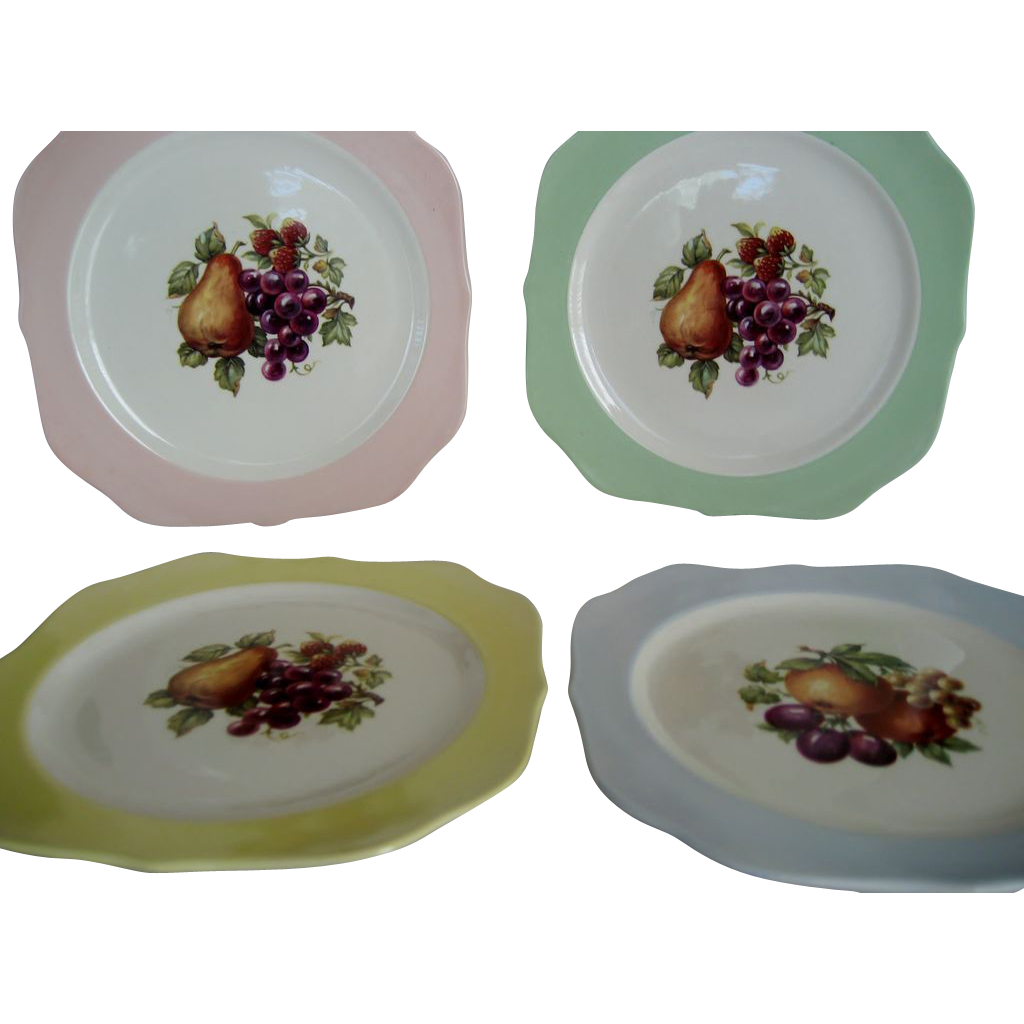 Set of 7 Crooksville Square Salad Plates with Fruit Decor - Various Colors
