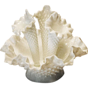 Fenton Small Apartment Size White Hobnail Epergne