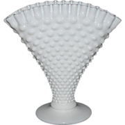 Fenton Large White Hobnail Fan Vase