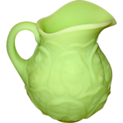 Fenton Lime Green Satin Water Lily Pitcher