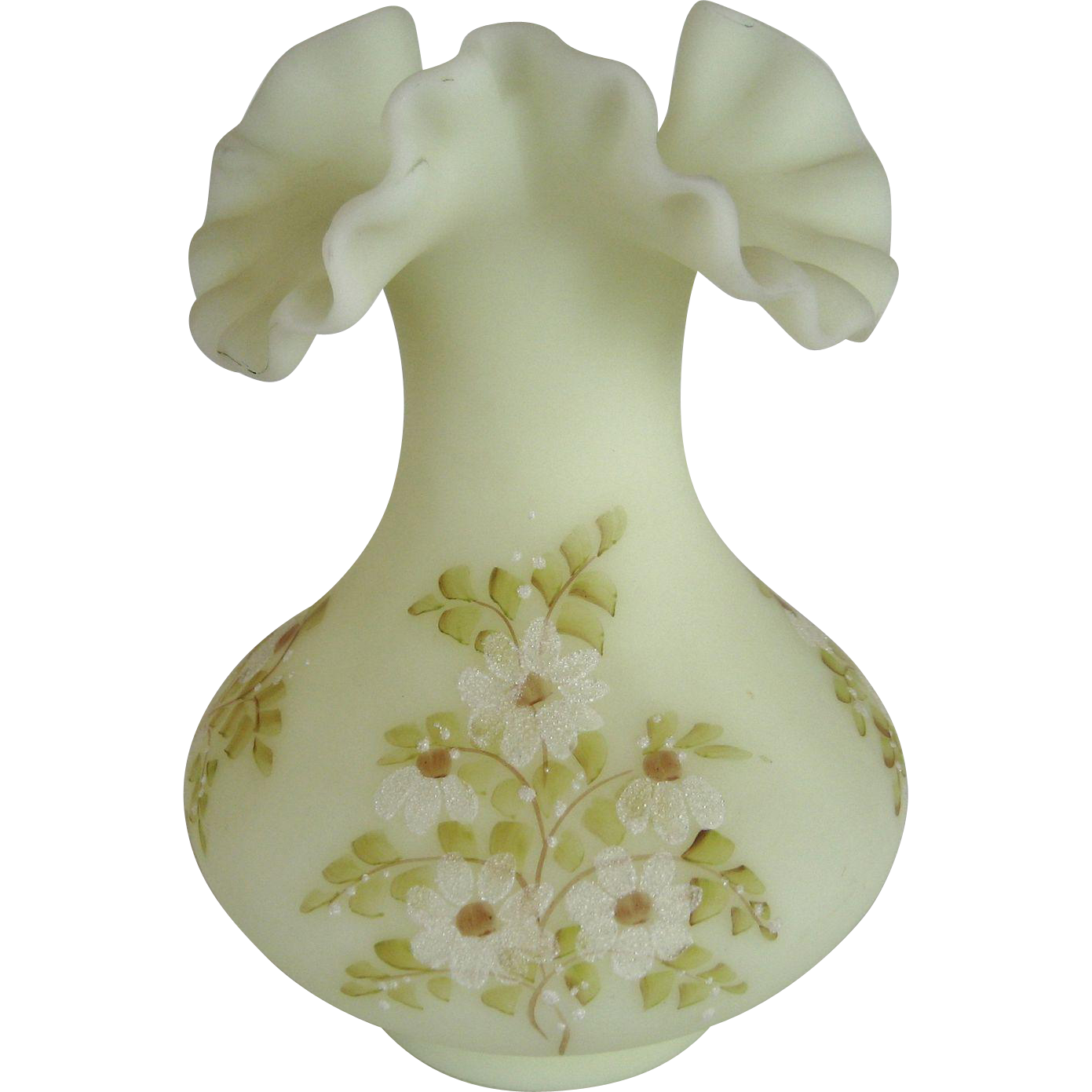 "Fenton Daisies on Custard Satin 7"" Vase"