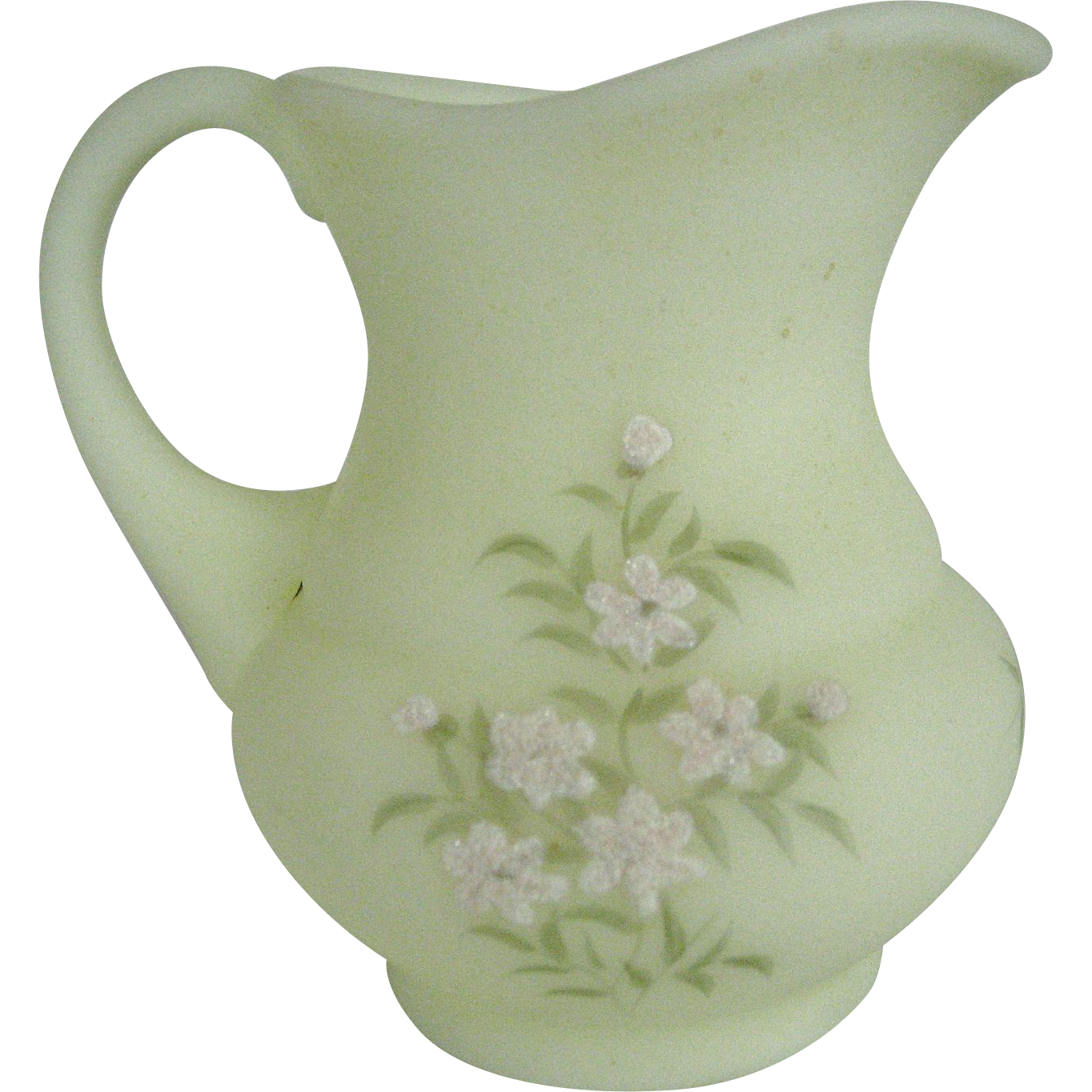 Fenton Pink Blossom on Custard Satin Small Pitcher