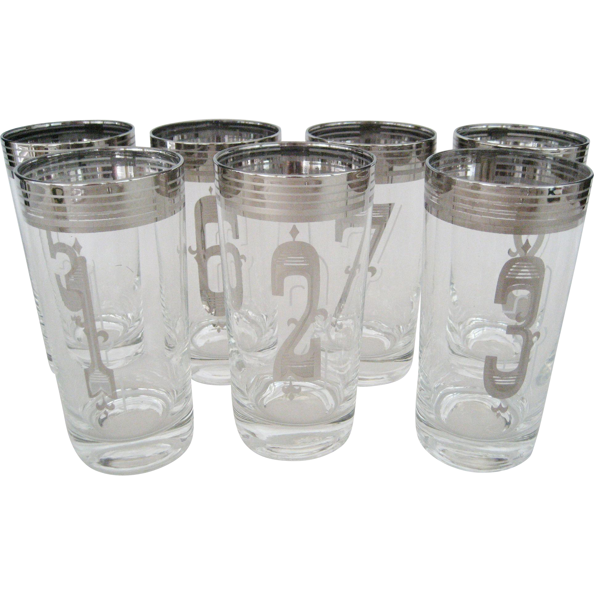 Set of 7 Numbered Glass Tumblers - Silver-Toned