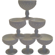 Fenton White Milk Glass Hobnail Sherbets - Set of 6