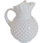 Fenton White Milk Glass Hobnail 70 Oz. Pitcher