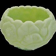 Fenton Lime Green Satin Water Lily Rose Bowl