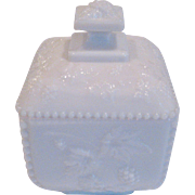 Westmoreland White Milk Glass Beaded Grape Covered Box