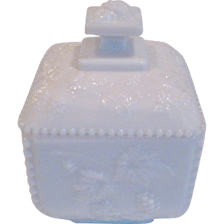 Westmoreland White Milk Glass Beaded Grape Covered Box