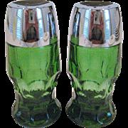 Anchor Hocking Georgian Green Salt and Pepper Shakers