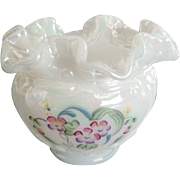 Fenton White Carnival HP Small Ruffled Vase