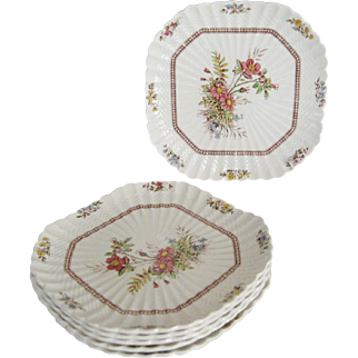 "Copeland Spode ""Rosalie"" Square Luncheon Plate - 6 Available"