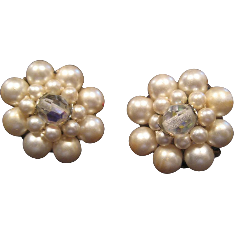 Faux Pearl and Center Crystal Bead Clip Earrings - Japan