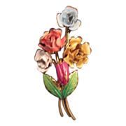 Enamel Painted Floral Bouquet Pin/Brooch - Made in Austria