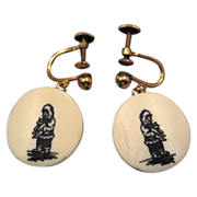 Bone or Celluloid Eskimo Earrings - 12K GF