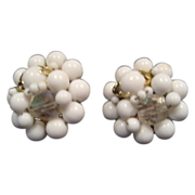 White Bead Clip-On Earrings - Japan