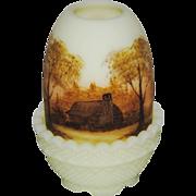 Fenton Log Cabin on Custard Satin Fairy Light