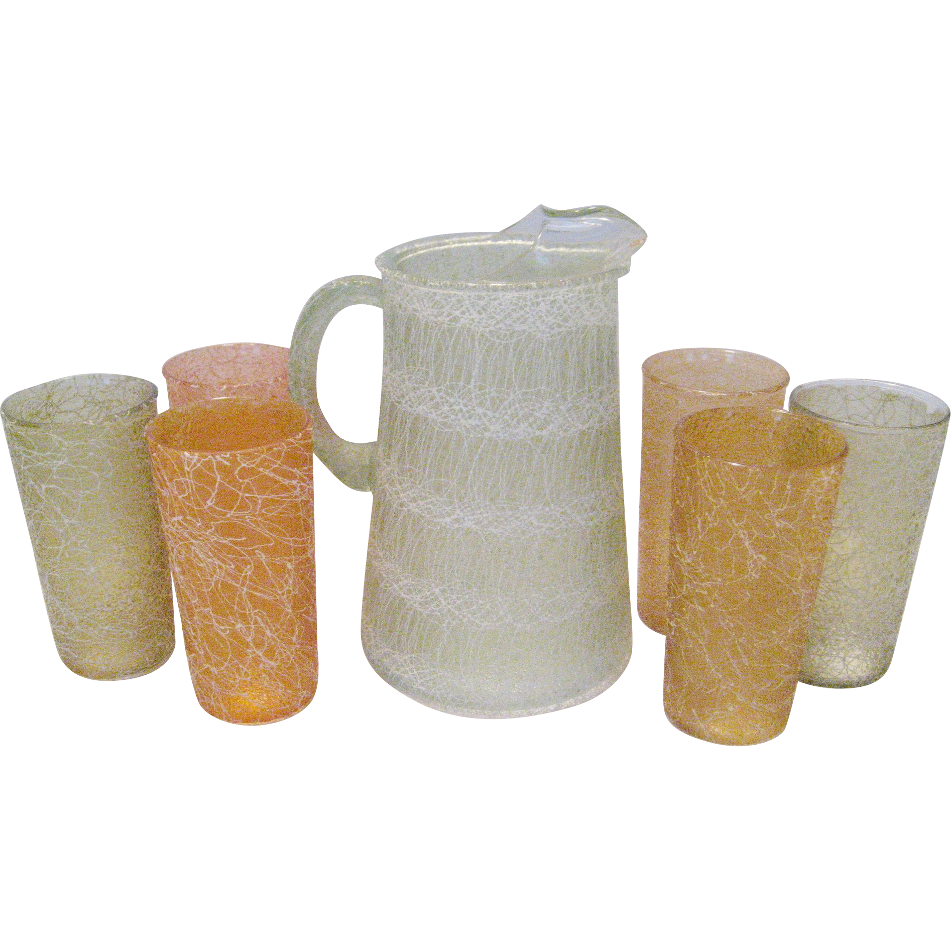 Spaghetti String Pitcher and 6 Tumblers