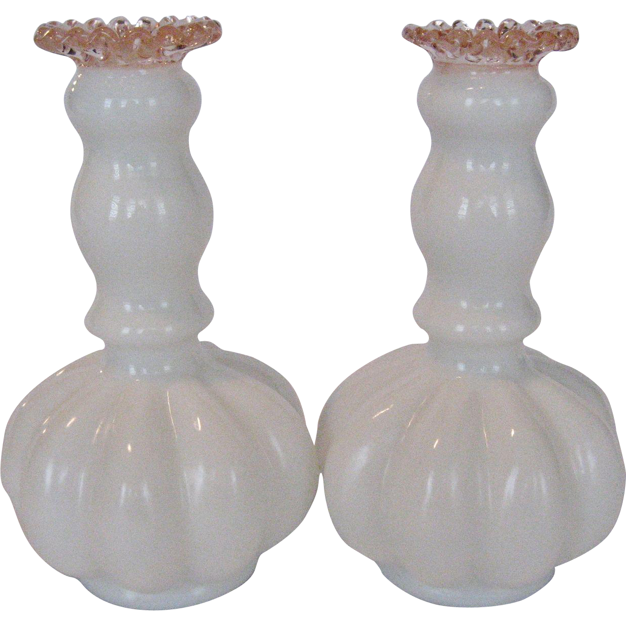 Pair of Fenton Candle Holders - Rose Crest