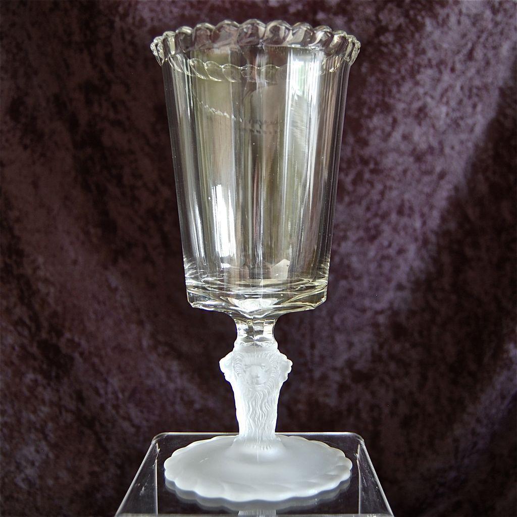 """Gillinder & Sons """"Lion"""" Celery Vase"""