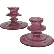 Consolidated Catalonian Candlesticks, Pair, Amethyst, Ca. 1927