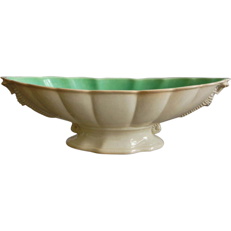Cowan Pottery Seahorse Console Bowl Ca. 1926, Ivory/Green