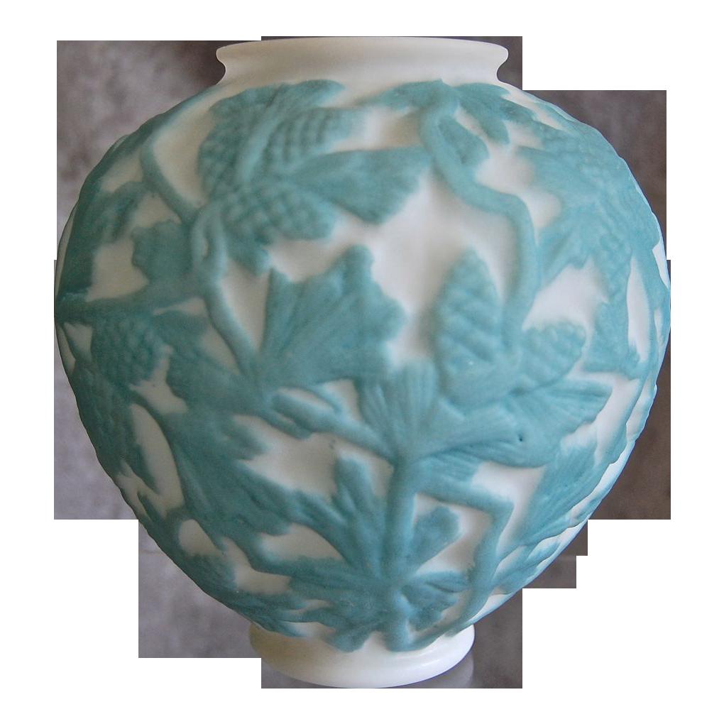 Consolidated Martele' Pine Cone Vase, Aqua, Ca. 1926