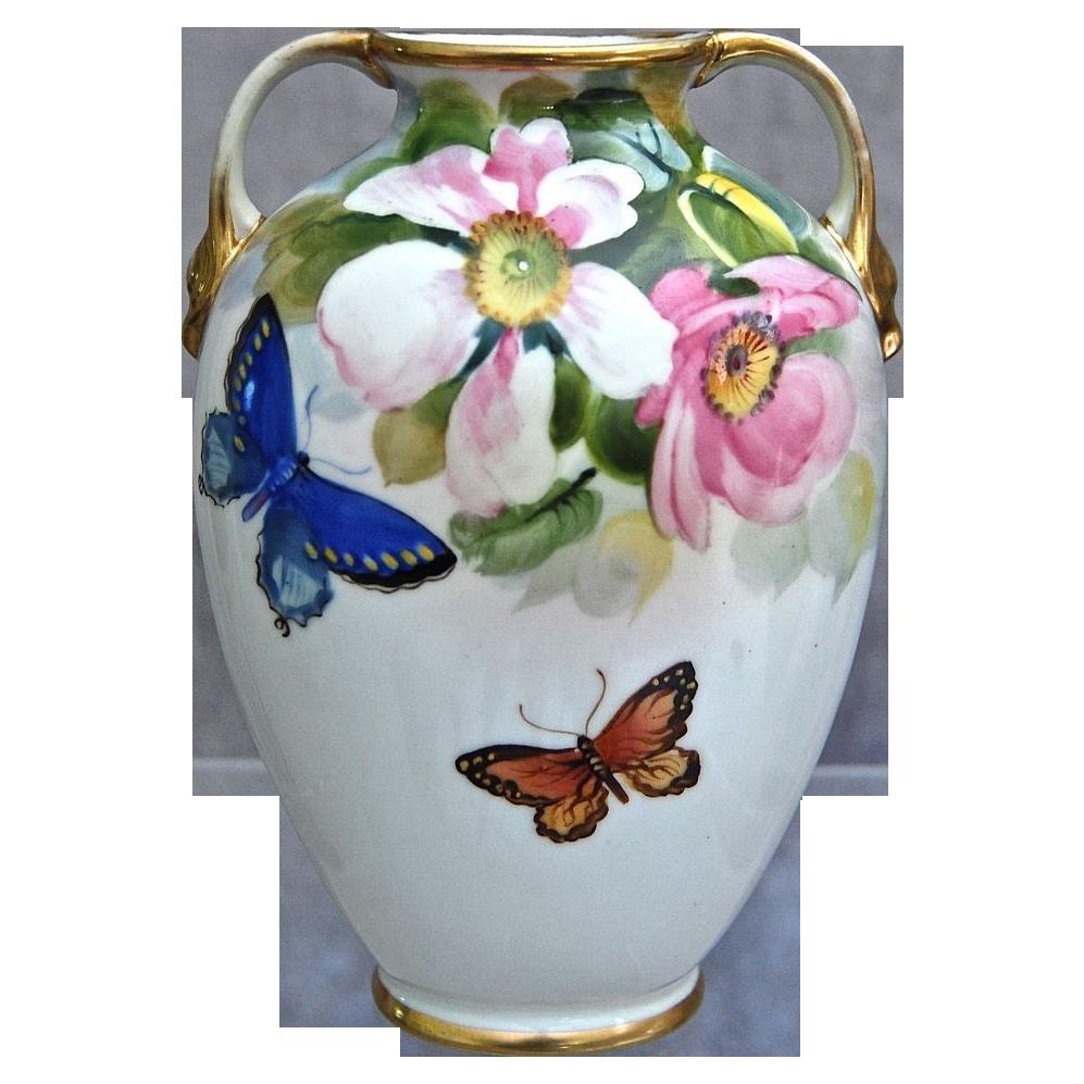 Noritake Nippon Hand Painted Floral Vase w/Butterflies