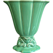 Cowan Pottery Small Seahorse Fan Vase #715-X, Ca. 1926, April Green