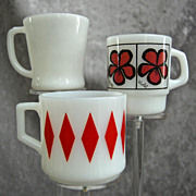 "Fire King Mug Trio, 10 oz. Red Diamond, Pop Floral ""Violet"" & White ""D"" Handle"