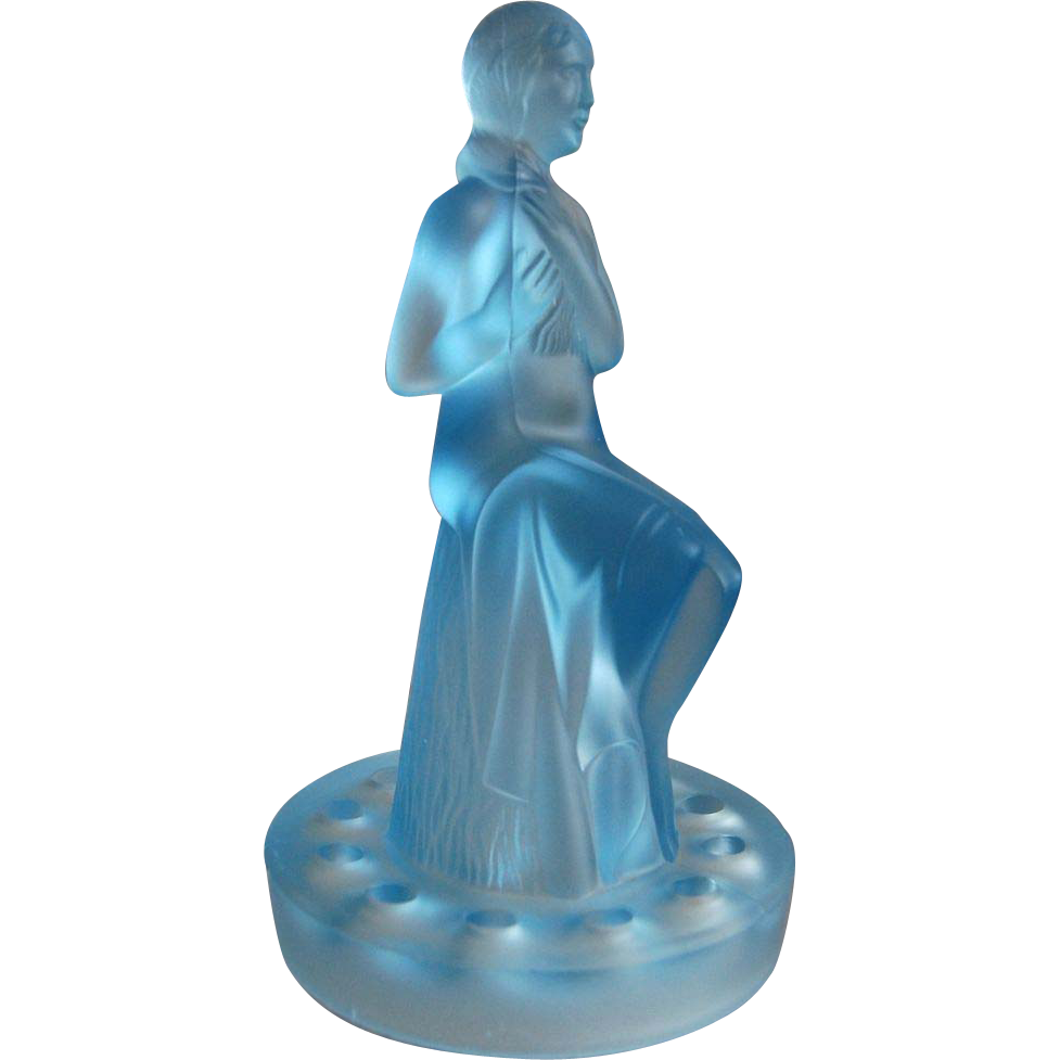"Sowerby Glass ""Seated Lady"" Flower Holder, Ca. 1935"