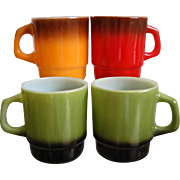 Fire King Stackable Mug Assortment, Green, Red, Orange