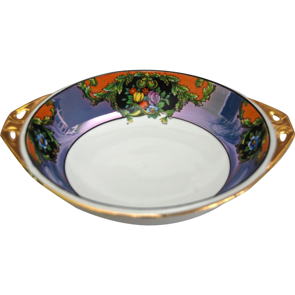 Noritake Hand Painted Floral Lustre Bowl Ca. 1918