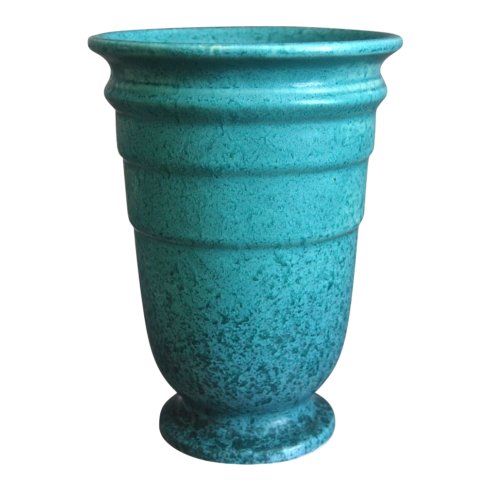 Roseville Pottery Tourmaline Vase #614-8 w/label, Turquoise, Ca. 1933
