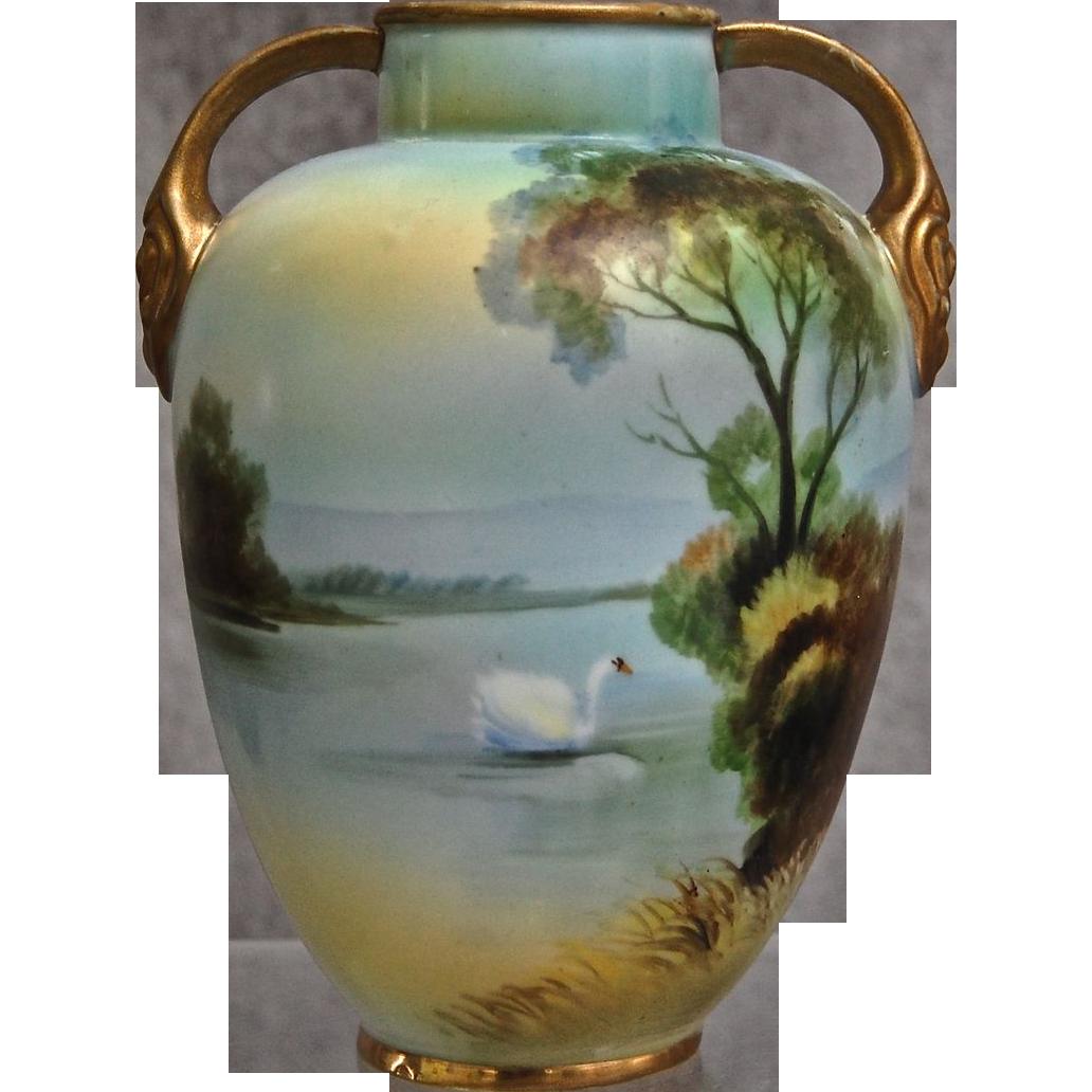 Noritake Nippon Hand Painted Scenic Vase w/Swan