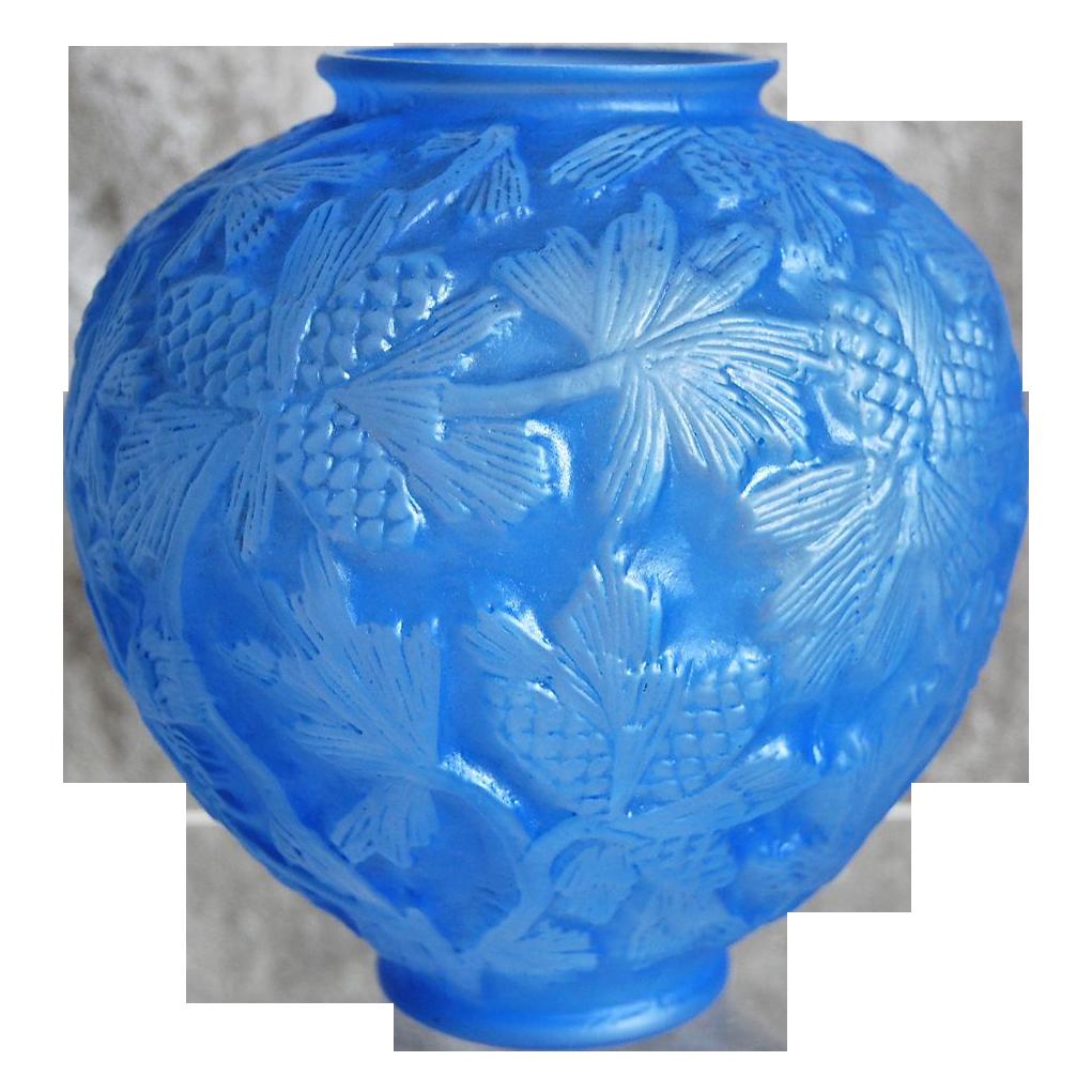 Phoenix Glass Reuben Line Pine Cone Vase Rare Blue Wash