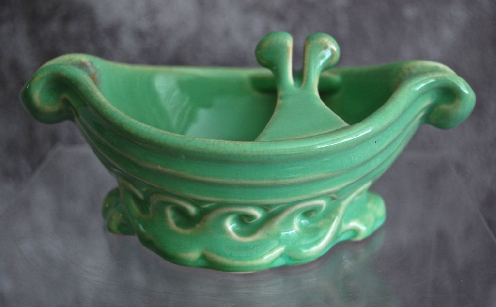 "Cowan Pottery ""Ship"" Ashtray #770, April Green, Ca. 1928"