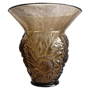 "Verlys France ""Alpine Thistle"" Vase, Smoky Topaz, Ca. 1932"