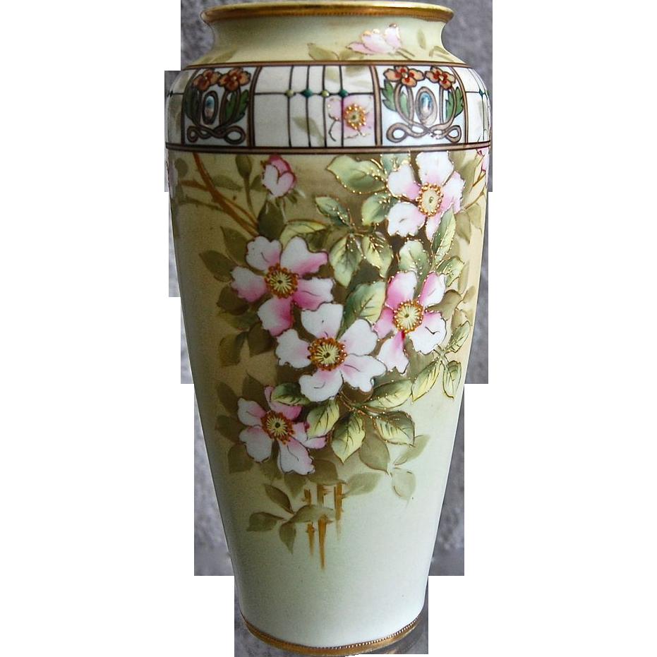 """Stunning Noritake Nippon 10"""" Enameled Jewel Dogwood Vase"""