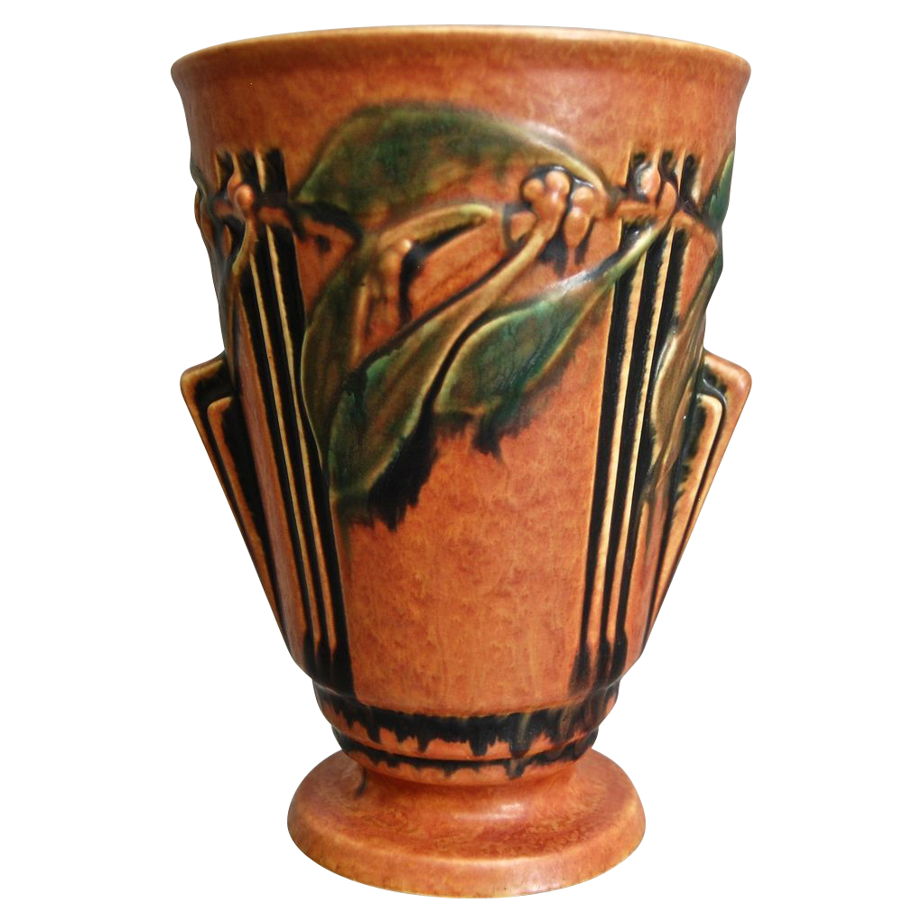 The Deco Haus Tagged Color Red: Roseville Pottery Laurel Vase #673-8, Red, Circa 1934