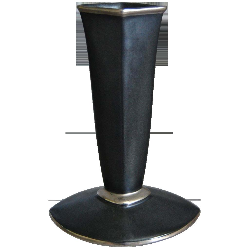 "Cowan Pottery ""Diamond"" Bud Vase, Black w/Silver, Ca. 1929"