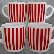 Hazel-Atlas Candy Stripe Mugs, Set of 4 - Red Tag Sale Item