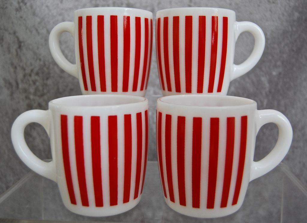Hazel-Atlas Candy Stripe Mugs, Set of 4