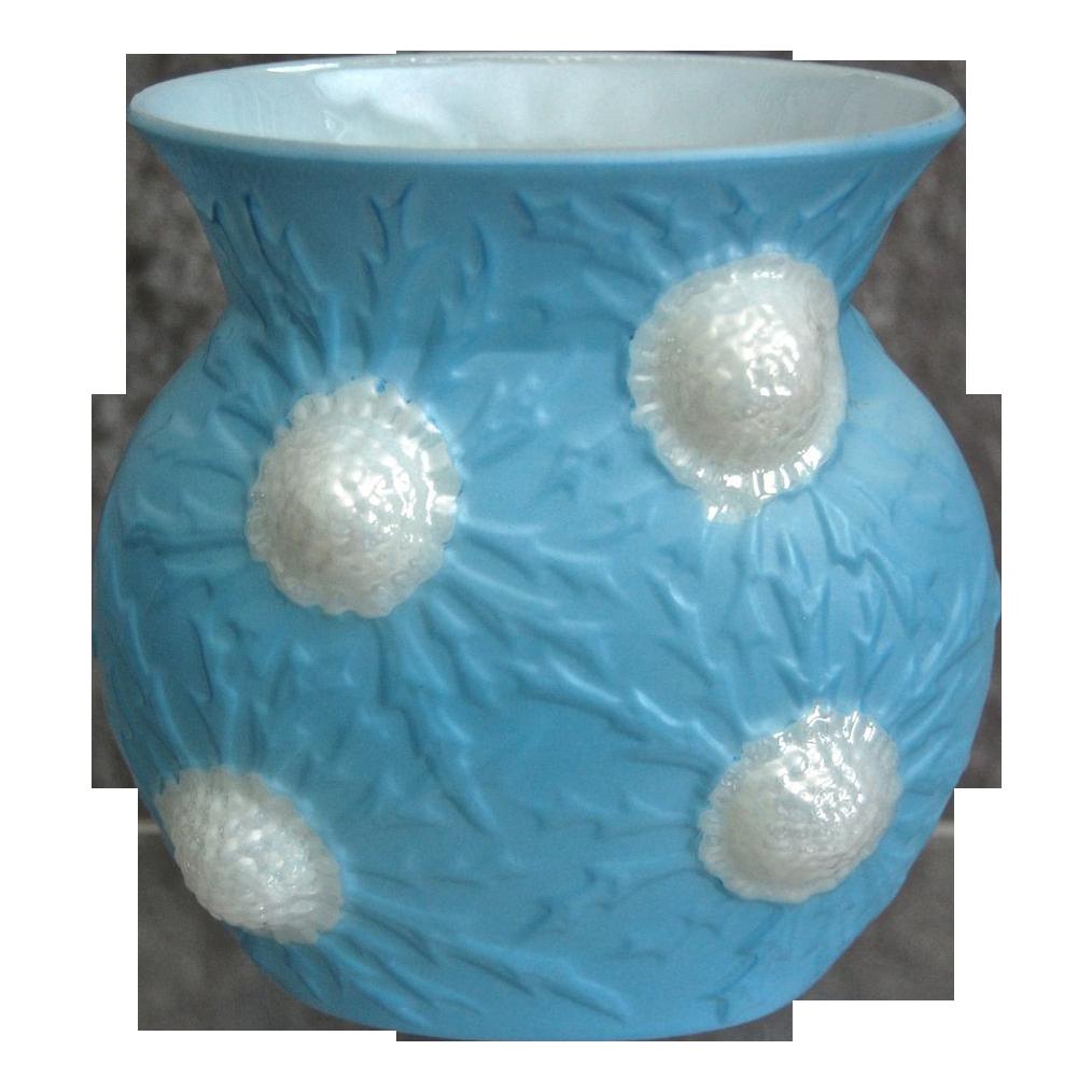 "Hard to Find Phoenix Sculptured Artware ""Jewel"" Vase, Blue Pearlized, Ca. 1936"