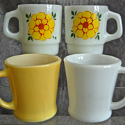 Fire-King/Anchor Hocking Mugs, Solid & Floral