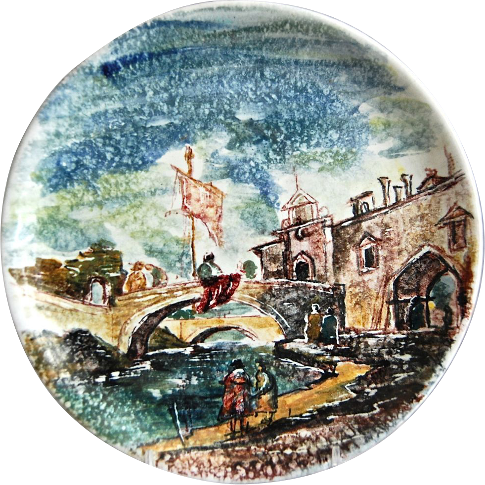 Hand Painted Earthenware Wall Plate, Montecatini, Italy ...