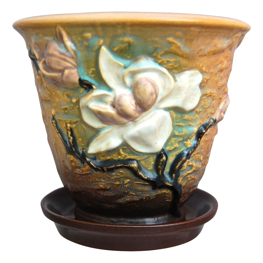Roseville Pottery Magnolia Flower Pot #666-5, Brown, Ca