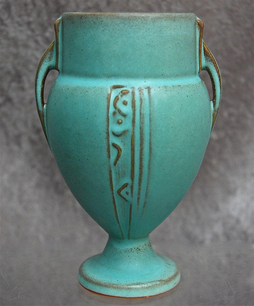roseville pottery moderne vase 787 6 turquoise circa. Black Bedroom Furniture Sets. Home Design Ideas